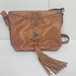 Kensie brown vegan boho tassel crossbody bag
